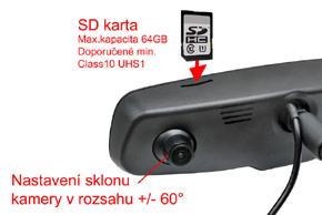 EV2R-043LAD HD DVR přední+zadní kamera - karta / náklon kamery