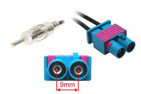 Anténní adaptér dvojitá FAKRA - DIN - detail konektoru