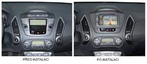 Rámeček 2DIN autorádia Hyundai ix35 (09->) před a po instalaci