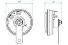 K91L diskový klakson 12V - rozměry