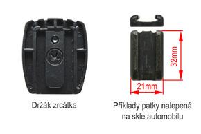 AK-043LA monitor v zrcátku Opel - detail upevnění na sklo