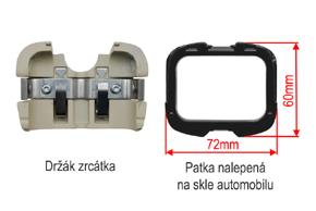 AK-043LA monitor v zrcátku VW / Škoda - detail patky na skle