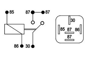 Spínací relé 12V / 30A - schéma zapojení
