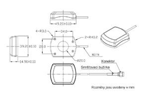 AGP-103 GPS vnitřní anténa FAKRA 90°konektor - rozměry