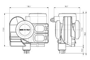 N2/24V Storm pneumatický klakson - rozměry