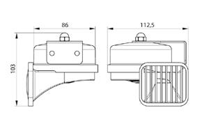 VMC /2 24V el-mag klaksony - rozměry