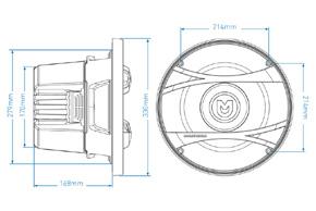 MACROM M1SW.1244 subwoofer 30cm - rozměry