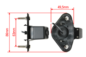 CCD parkovací kamera Subaru Outback - rozměry