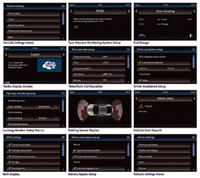 Informační adaptér pro VW Golf VII. - příklady menu na obrazovce instalované navigace
