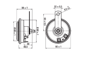 K91EM-H elektronický diskový klakson 12V - rozměry
