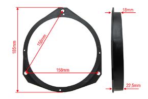 Plast.adaptér repro Opel / Fiat - rozměry