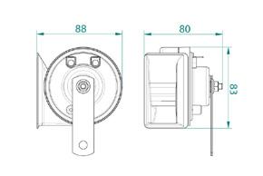 TW80/2N elektromag. klaksony 12V - rozměry