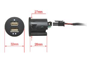 2x USB zásuvka s kabelem - rozměry