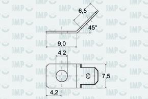 Nýtovací konektor 4,8mm - 45° - rozměry