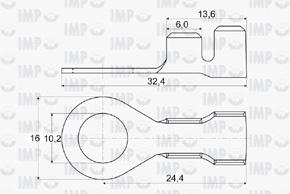 Kabelové oko Ø 10,2mm - rozměry