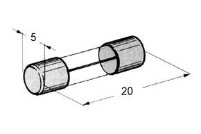 Trubičková skleněná pojistka 20x5mm  - rozměry