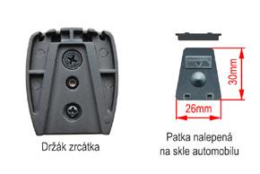 Konzole zrcátka BK - detail upevnění na sklo