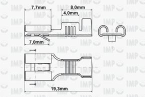Konektor dutinka 6,3mm s jazýčkem - rozměry