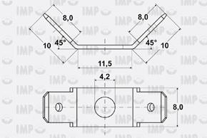 Nýtovací konektor 6,3mm - dvojitý 45° - rozměry