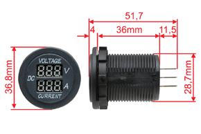 Digitální voltmetr a ampérmetr - rozměry