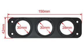 Panel pro 2x USB + CL zásuvku - rozměry