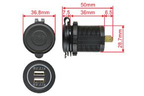 Adaptér 12V -> 2x USB 5V / 4,2A - rozměry