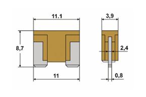 Mini nožová pojistka LP - rozměry