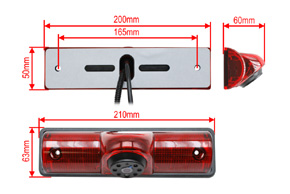 CCD univerzální zpětná kamera - rozměry