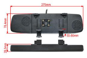 BK-043LU monitor v univerzálním zrcátku - rozměry