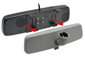 BK-043LU monitor v univerzálním zrcátku - upevnění na OEM zrcátko