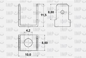 Nýtovací konektor 6,3mm - dvojitý 90°. 4,2mm - rozměry
