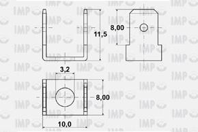 Nýtovací konektor 6,3mm - dvojitý 90°, otvor 3,2mm - rozměry