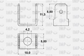 Nýtovací konektor 6,3mm - dvojitý 90°, otvor 4,2mm - rozměry