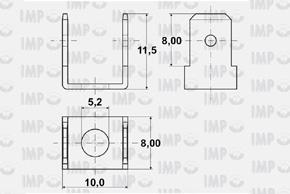 Nýtovací konektor 6,3mm - dvojitý 90°, otvor 5,2mm - rozměry