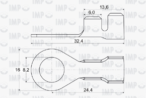 Kabelové oko Ø 8,2mm - rozměry