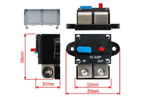 Elektronický jistič 50A - rozměry