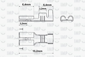 Konektor dutinka 4,8mm - rozměry