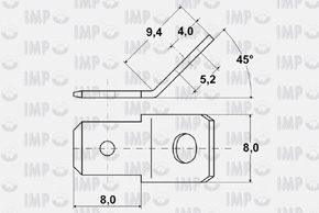 Nýtovací konektor 6,3mm - 45° - rozměry
