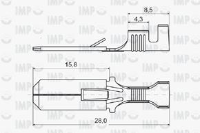 Konektor kolík 6,3mm s jazýčkem - rozměry