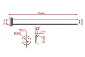 Dveřní průchodka rovná 9/6mm - rozměry