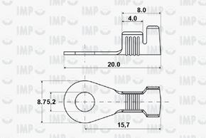 Kabelové oko Ø 5,2mm - rozměry
