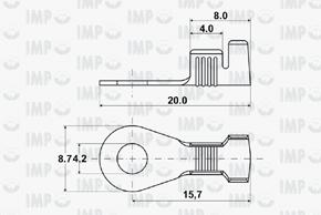 Kabelové oko Ø 4,2mm - rozměry