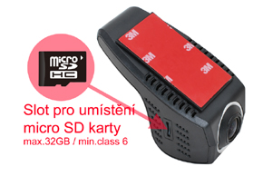 DVR kamera univerzální - umístění SD karty