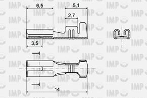 Konektor dutinka 2,8mm - rozměry