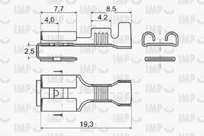 Konektor dutinka 6,3mm s odbočkou - rozměry