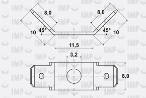 Nýtovací konektor 6,3mm - dvojitý 45°