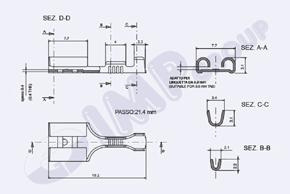 Konektor dutinka 6,3mm - rozměry