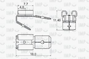 Konektor dutinka 6,3mm s odbočkou 2x kolík - rozměry