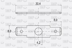 Nýtovací konektor 6,3mm - dvojitý rovný - rozměry