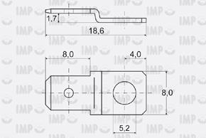 Nýtovací konektor 6,3mm - tvar ''S'' - rozměry